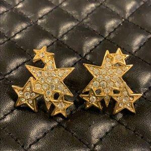 Anthropologie Gold Crystal Star Earrings